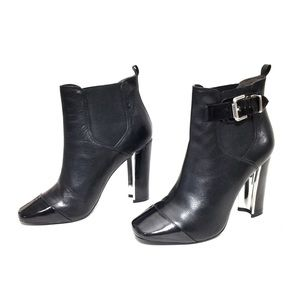 Pour La Victoire Black Leather & Patent Ankle Boot